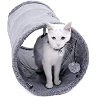 Speedy Pet Collapsible Cat Tunnel, Cat Toys Play Tunnel Durable Suede Hideaway Pet Crinkle Tunnel with Ball,12 inch…
