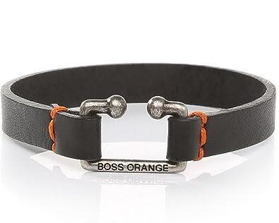 b4b9c3597cd7 Pulsera Hugo Boss Orange Morris negra de piel para hombres  Amazon.es   Joyería