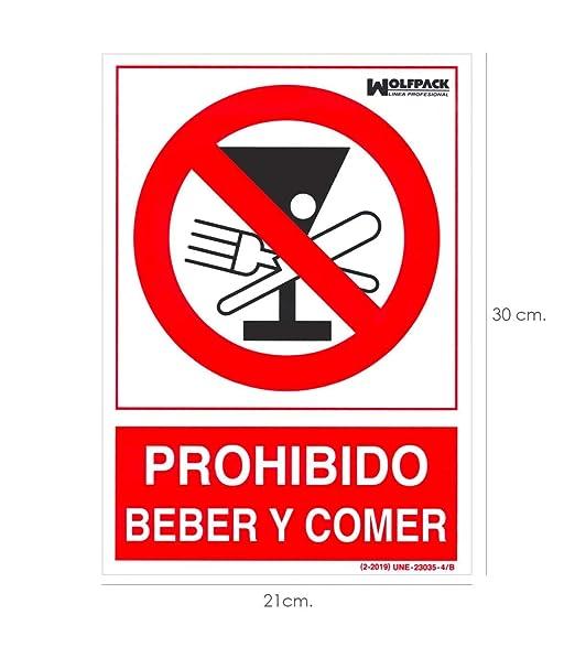 Wolfpack 15050952 Cartel Prohibido Beber y Comer 30x21cm ...