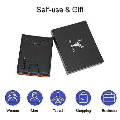 Amazon.com: Cartera fina con clip para dinero RFID Blocking ...