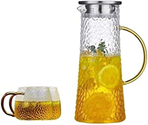 LLL Heat-Resistant Glass Cold Kettle Summer Cooler Teapot Heat-Resistant Cooler Kettle Explosion-Proof Tie-Pot Cooler Cup Set,White