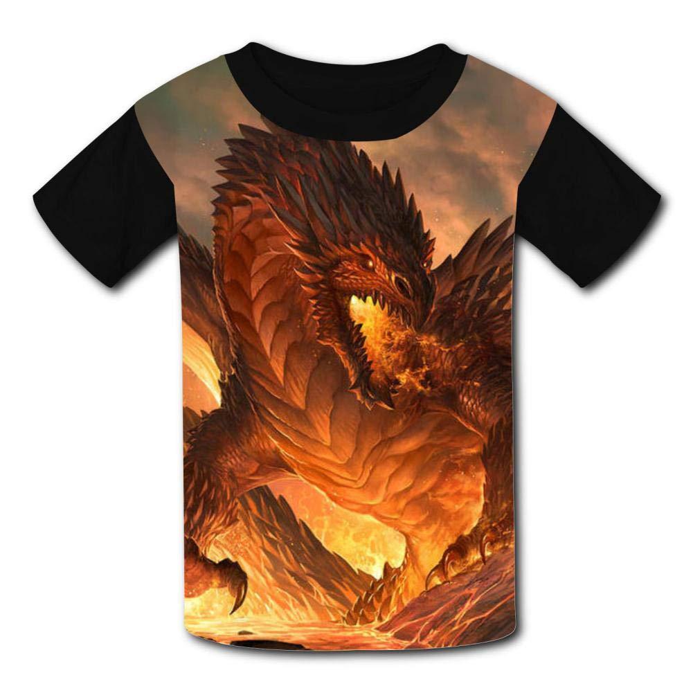 Kids Fire Dragon O-Neck T Shirts for Fashion Children Boys Girls Tee Shirt