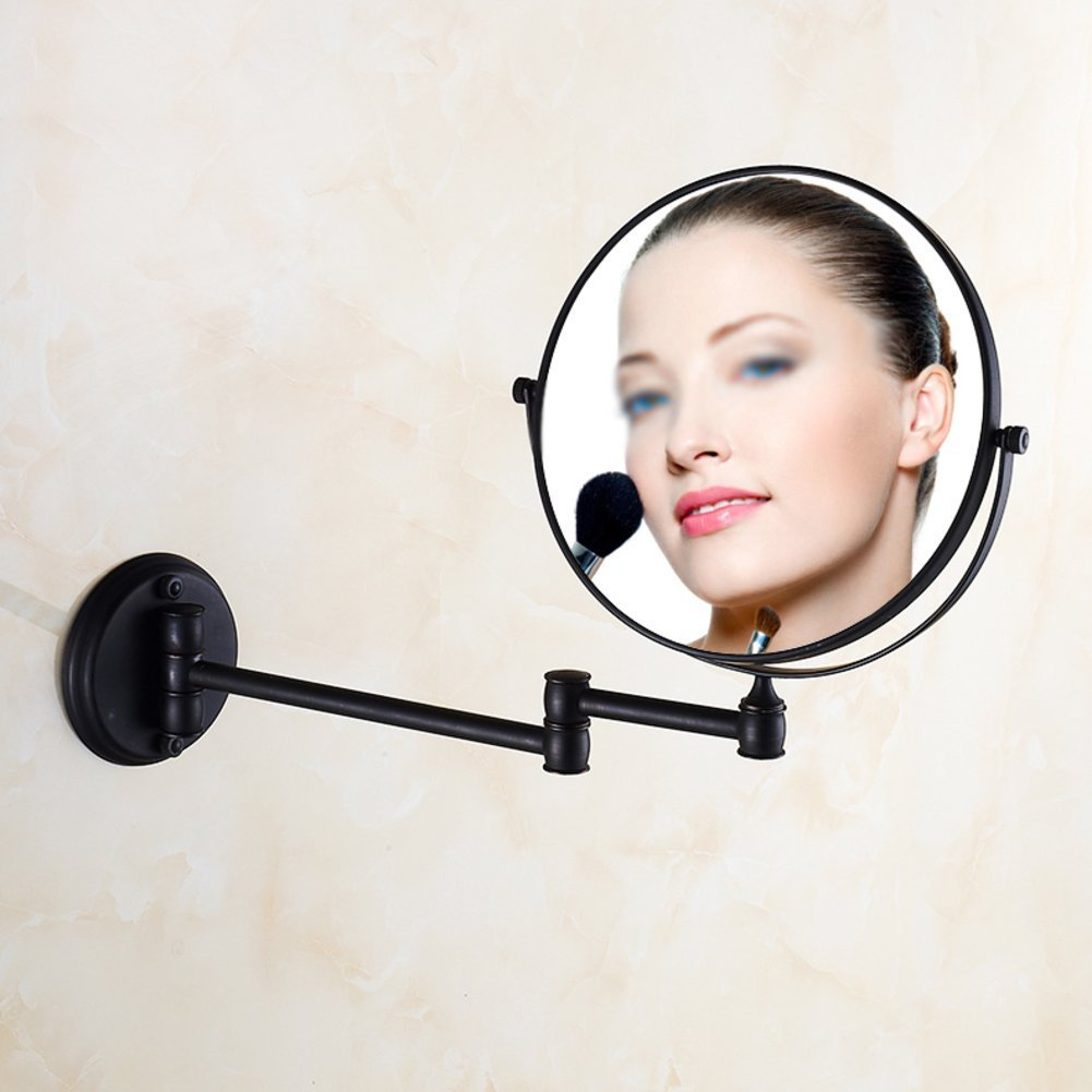 YAOHAOHAO Expandable makeup mirrors, bathroom Antique copper beauty make-up mirror telescope to the wall folding double-sided