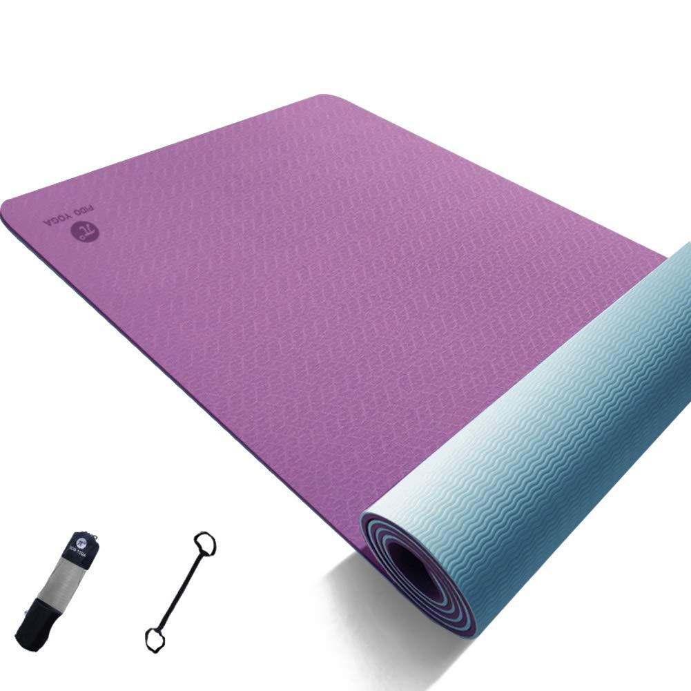 PurpleA 183x61x0.6cm Reversible Thick Exercise Fitness Mat NonSlip Texture Pro Yoga Mat Double color with Carrying Strap and Bag for Pilates Floor Picnic