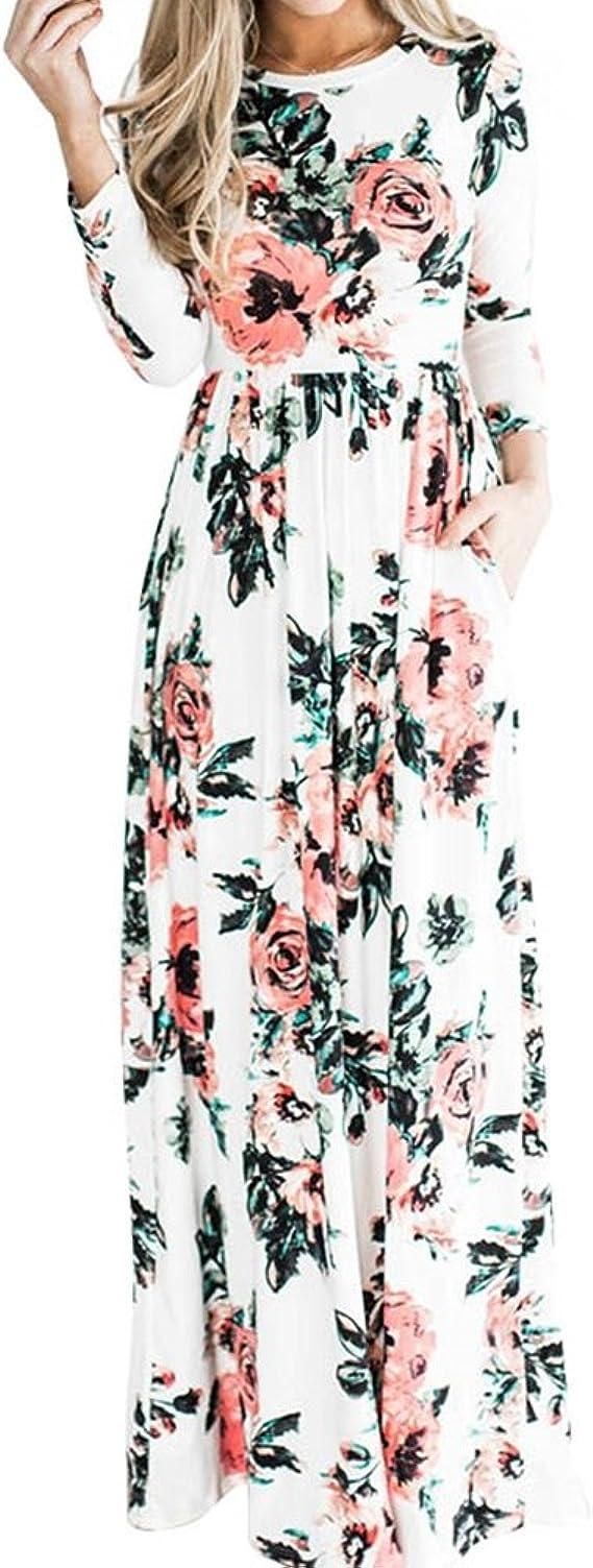 TALLA (EU36-38)S. Lover-Beauty Vestido Largo Floral Print Casual para Noche Fiesta Playa Fiesta Manga Larga Cuello Redondo Vestido Verano Cuello V Blanco 2 (EU36-38)S