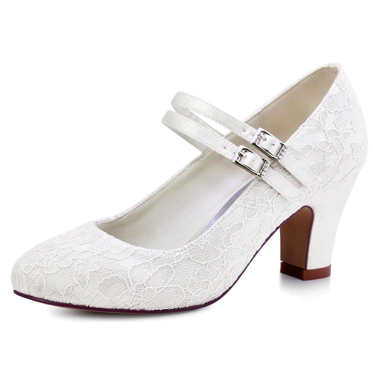 ElegantPark HC1708 Women Mary Jane Block Heel Pumps Closed Toe Lace Bridal Wedding Shoes Ivory US 10