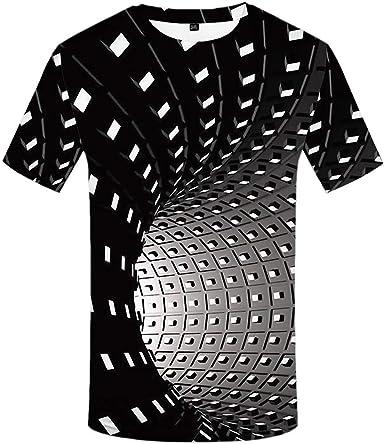 KYKU - Camiseta psicodélica para Hombre, diseño de ilusión óptica 3D, Color Blanco y Negro - Negro - Medium: Amazon.es: Ropa y accesorios