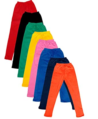 Pack of 8 -Multiple Colors-17-18 Years Indistar Big Girls Cotton Full Ankle Length Solid Leggings
