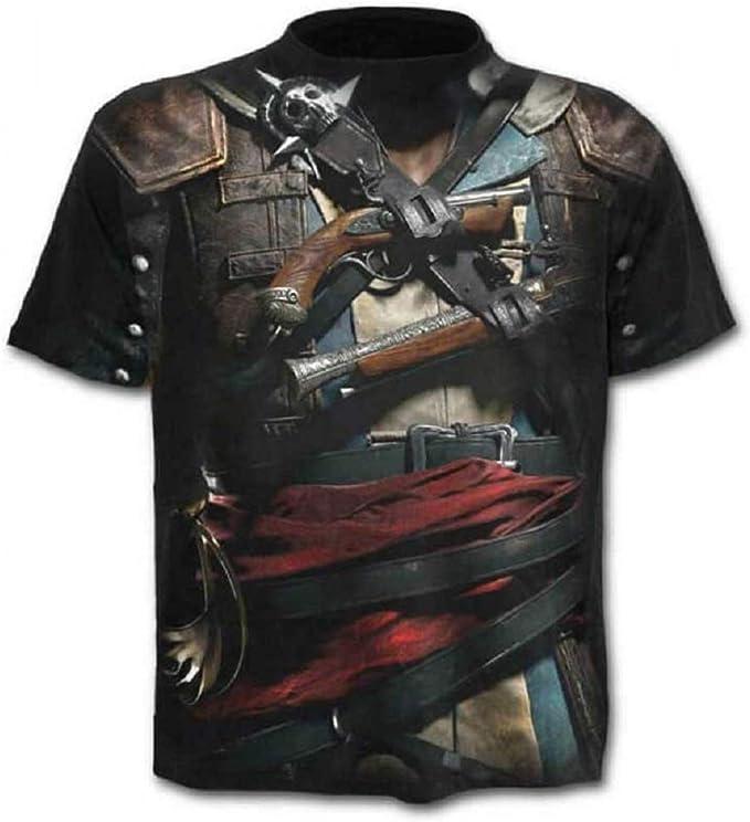 C0y7 - Camiseta - Camiseta - 3D - Manga Corta - Hombre - Unisex - Mujer - Divertido - niños - Cosplay - Pistolero - Pirata - gótico - corsario - Pistola: Amazon.es: Ropa y accesorios