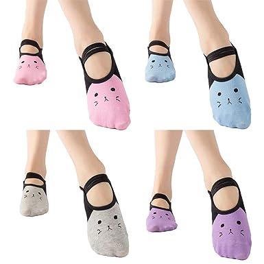 ZOYLINK 4 Pairs Women Yoga Socks Elastic Non-Slip Cat ...