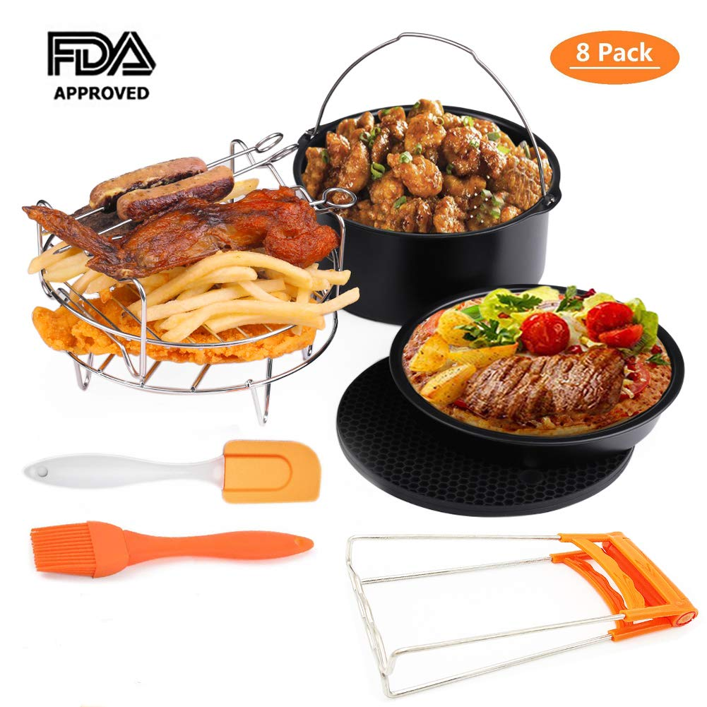 Bellagione Deep Fryers Universal Air Fryer Accessories Including Cake Barrel,Baking Dish Pan,Grill,Pot Pad, Pot Rack with Silicone Mat (7 Pcs)