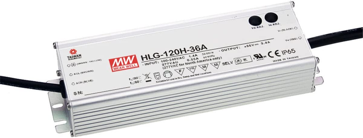 PowerNex Mean Well HLG-120H-12A 12V 10A 120W Single Output Switching LED Power Supply with PFC