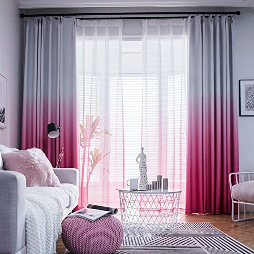 ZYLHC Bedroom Pure Color Curtain, Living Room Blackout Polyester Fabric Curtain Panels Gradient Finished Nordic Floor Bay Window Curtain 1 Pcs-f W400h270cm 157106inch