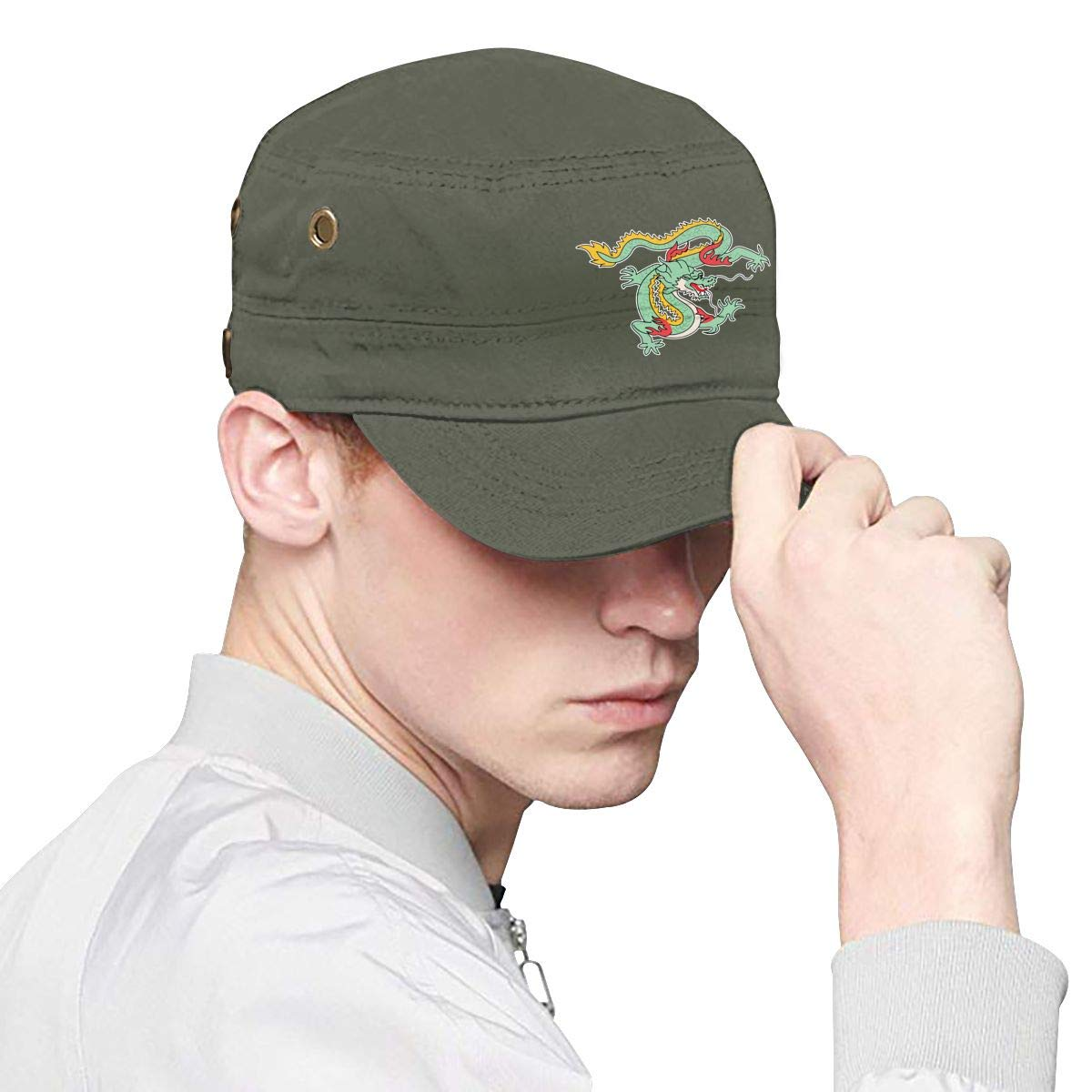 Chinese Dragon Unisex Adult Cotton Military Army Cap Flat Top Hat