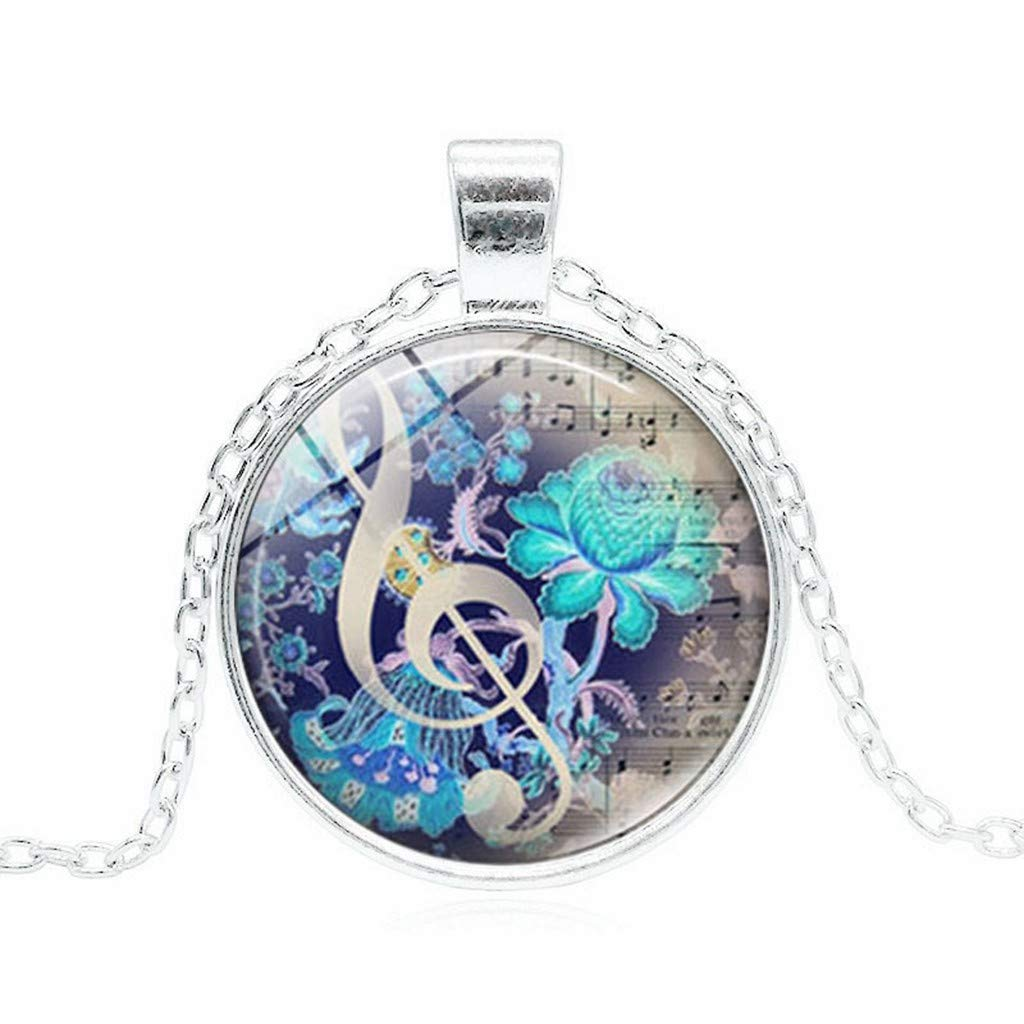 Voberry- Jewelry Music Pendant Necklace Music Letter Necklace Best Gift for Friends (Silver)
