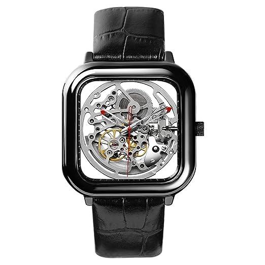 CIGA Design Men s black ceramic automatic mechanical watch square design hollow watch