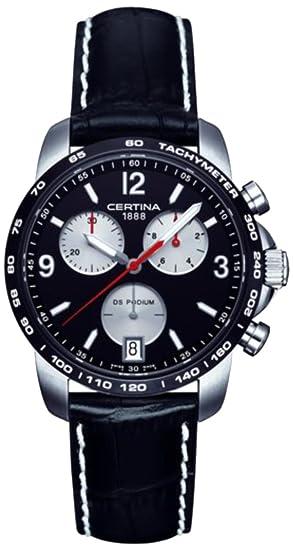 Certina DS Podium - Reloj de cuarzo para hombre, correa de cuero color negro: Amazon.es: Relojes