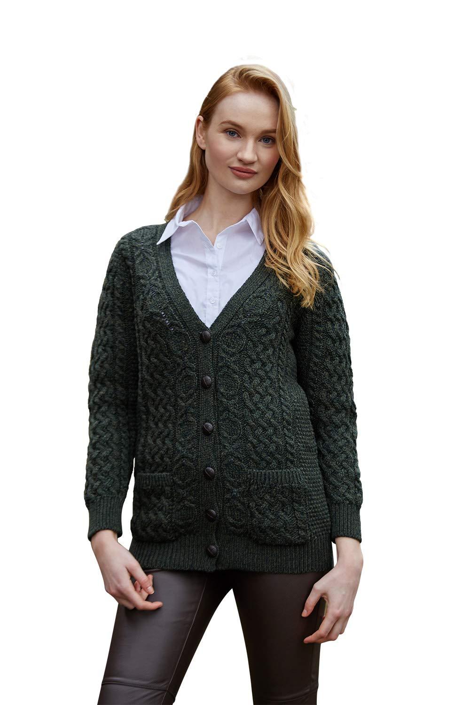 100% Irish Merino Wool Aran Knit Boyfriend Sweater by West End Knitwear, Army Green, Small