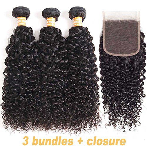 VTAOZI Hair Brazilian Virgin Curly Hair 3 Bundles with Lace Closure Free Part 100% Unprocessed Brazilian Kinky Curly Human Hair Bundles with 4x4 Lace Closure Natural Color (10 12 14 + 10 Free Part) ()