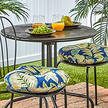Greendale Home Fashions Round Indoor Outdoor Bistro Chair Cushion, 15-Inch, Marlow, Set of 2