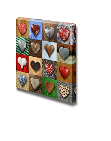 Amazoncom Canvas Prints Wall Art Artistic Photo Collage Of Heart