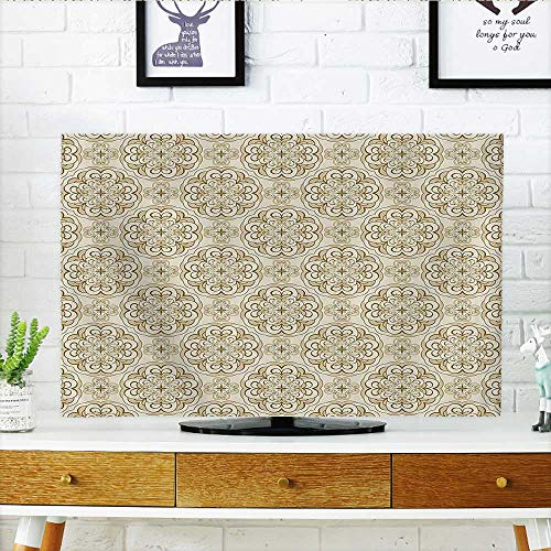 Cord Cover for Wall Mounted tv Baroque Floral Motif Western Classical Dramatic Era Art Antique Renaissance Nostalgic Deco Ecru Cover Mounted tv W32 x H51 INCH/TV 55
