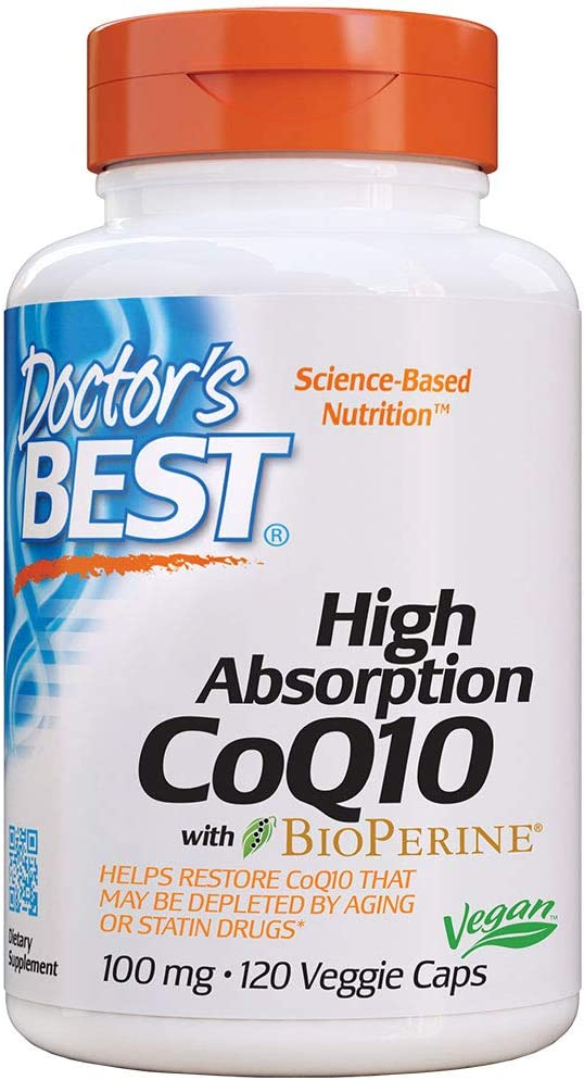 Doctor's Best High Absorption CoQ10 with Bioperine, Heart Health & Energy Production, Non-GMO, Gluten Free, Vegan, Soy Free, 100 Mg, 120 VC