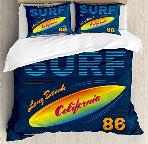 (Ambesonne Surf Duvet Cover Set Queen Size, American Boardriders Symbol Long Beach Sun Standing in Ocean Waves Illustration, Decorative 3 Piece Bedding Set with 2 Pillow Shams, Navy Blue Orange)