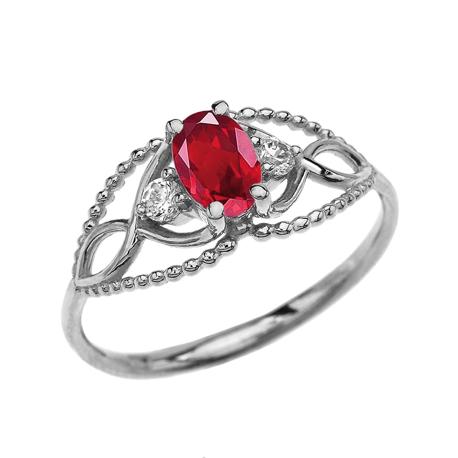 10k White Gold Elegant Beaded Solitaire Ring With Ruby and White Topaz