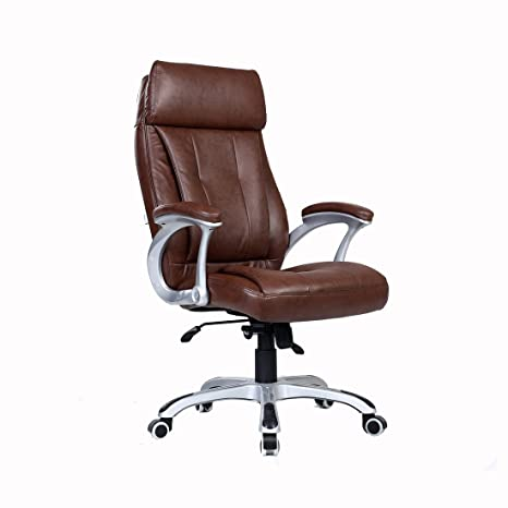 Fabulous More4Homes Modini High Back Executive Office Chair Faux Leather Computer Desk Furniture Brown Andrewgaddart Wooden Chair Designs For Living Room Andrewgaddartcom