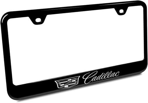 Gold Cadillac License Plate Frame Tag Black Powder Coated Etched Hand Painted