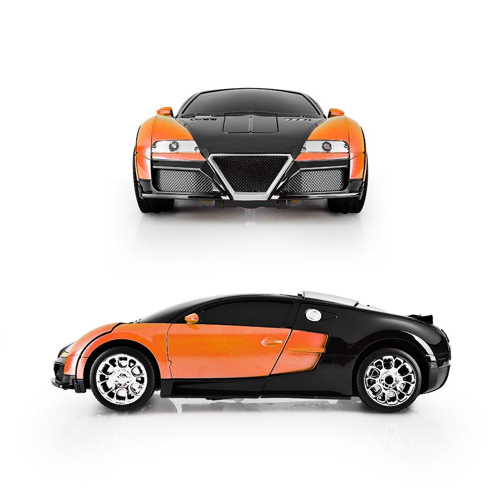 SainSmart Jr. Transformation Car Toy Bugatti Car Robot for Kids, RC Car One Button Transforms into Robot, Remote Control Transforming Robot (Orange) by SainSmart Jr. (Image #2)