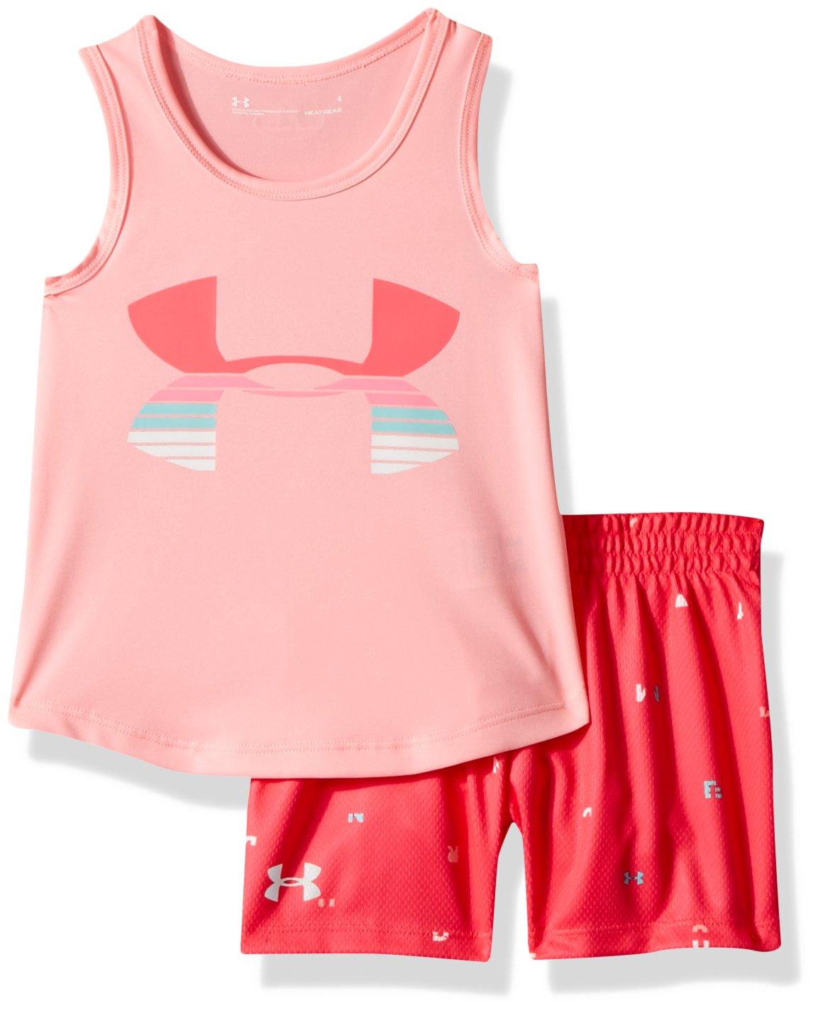 Under Armour Toddler Girls' UA Tank and Short Set, Pop Pink, 3T