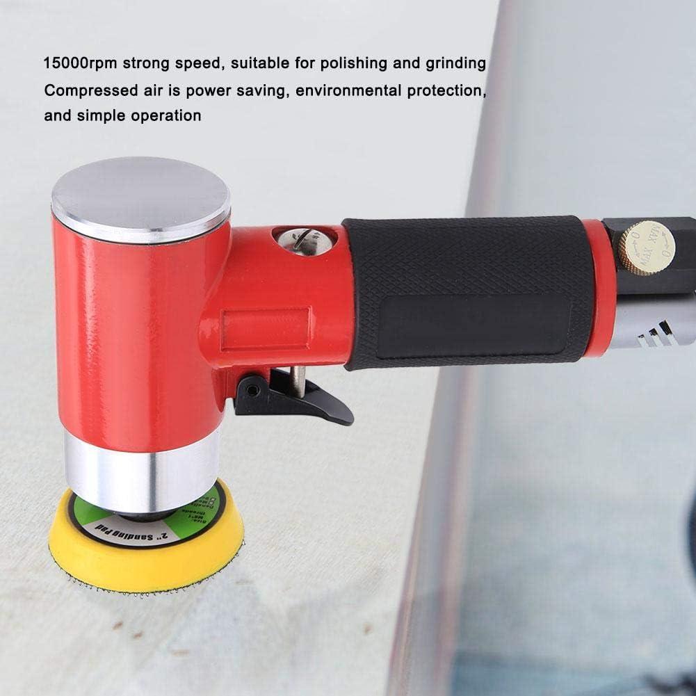 Nannday Pneumatischer Polierer 1#-Exzenter Pneumatischer Polierer Luftpoliermaschine 2-in-Schleifscheibe 15000 U//min mit japanischem Schnellanschluss