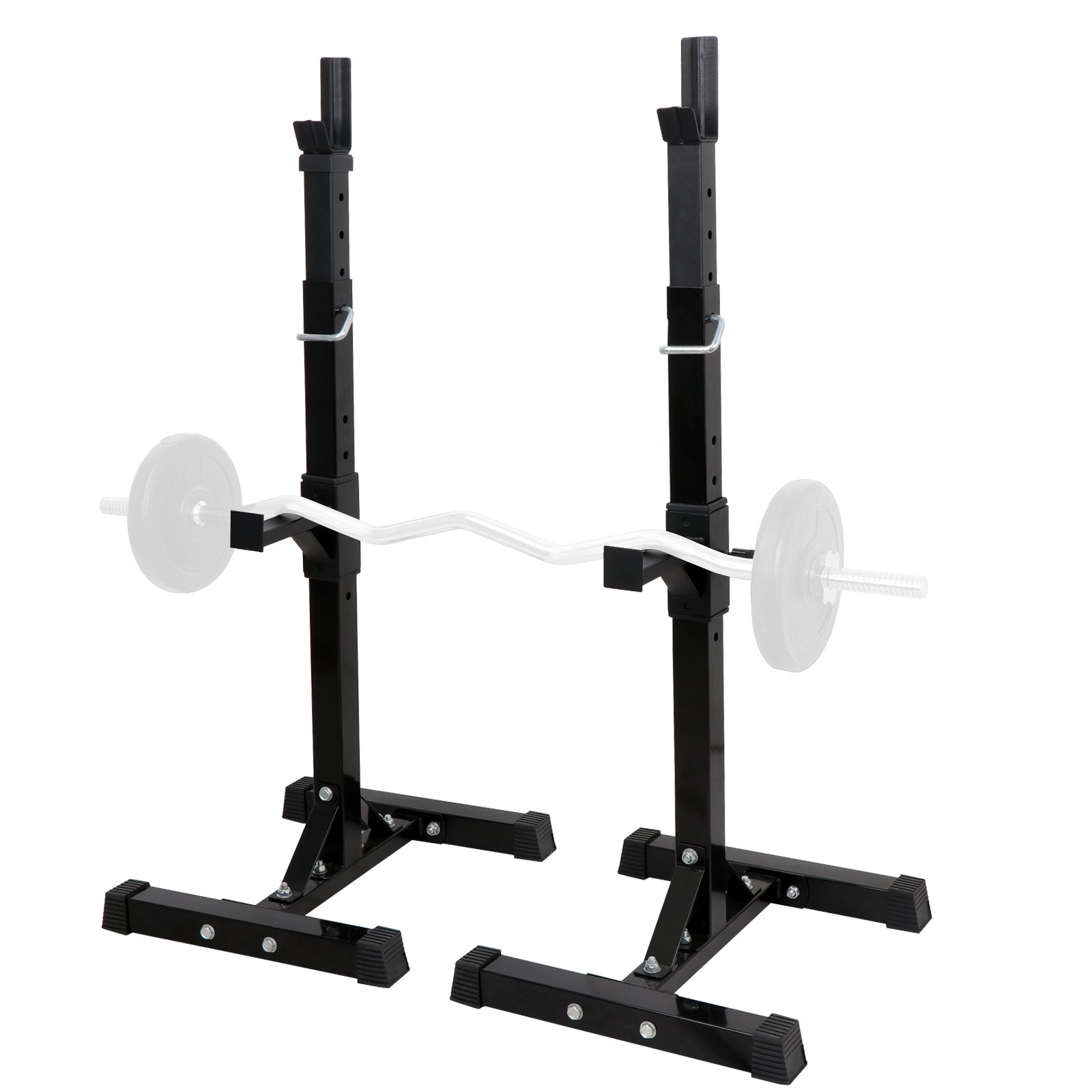 ZENY Set of 2 Barbell Stand Dumbbell Power Rack Adjustable 42''- 66'' Standard Sturdy Steel Squat Stands Fitness Free Bench Press Stands Home Gym Exercise Fitness Training