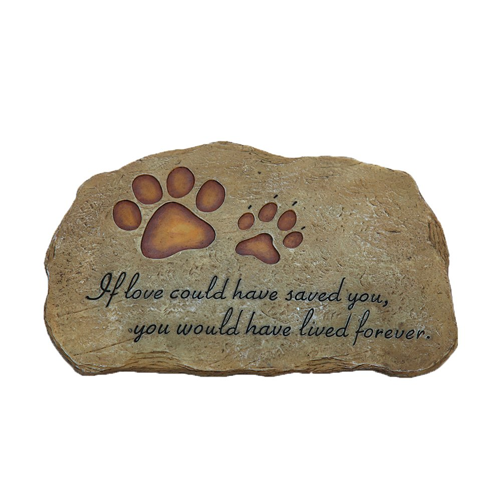 ONETKM Pet Memorial Stones For Dog or Cat,Cute Tombstone Engraved With Sympathy Poem & Paw In Hand Design,Garden Decoration Stone With Footprint,Meaning Gift For Indoor Or Outdoor