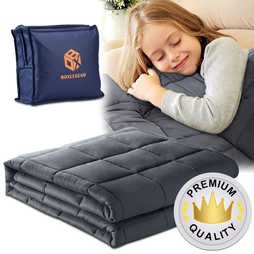 Premium Weighted Blanket for Kids 7lbs 41''x60'' (50-90lbs for Child) 100% Cotton Pocket Heavy Blanket Glass Beads Single Size Bed Grey by BoxLegend