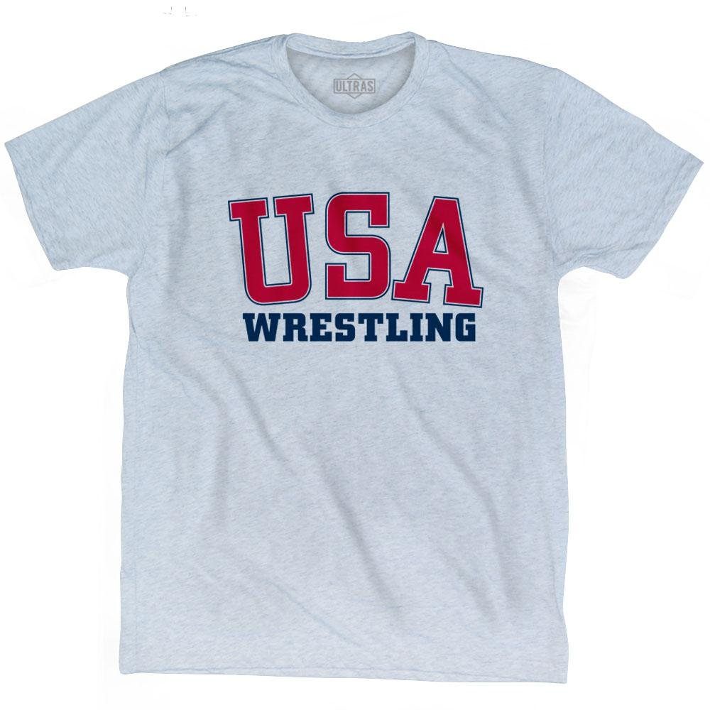 USA Wrestling Ultras T-shirt, Athletic White, Adult Medium