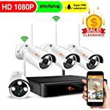 CORSEE 4 Channel 1080P Full HD Wireless Security Camera System with 4PCS 1080P Wireless Waterproof Bullet IP Camera, Clearly Night Vision,Motion Detection Alert, No Hard Drive