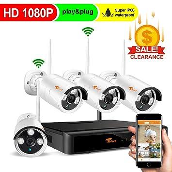 Corsee Sistema de cámara IP de videovigilancia de 4 piezas con kit WiFi full HD de