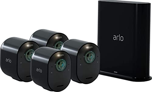 Arlo – Ultra 4-Camera Indoor Outdoor Wire-Free 4K HDR Security Camera System – Black