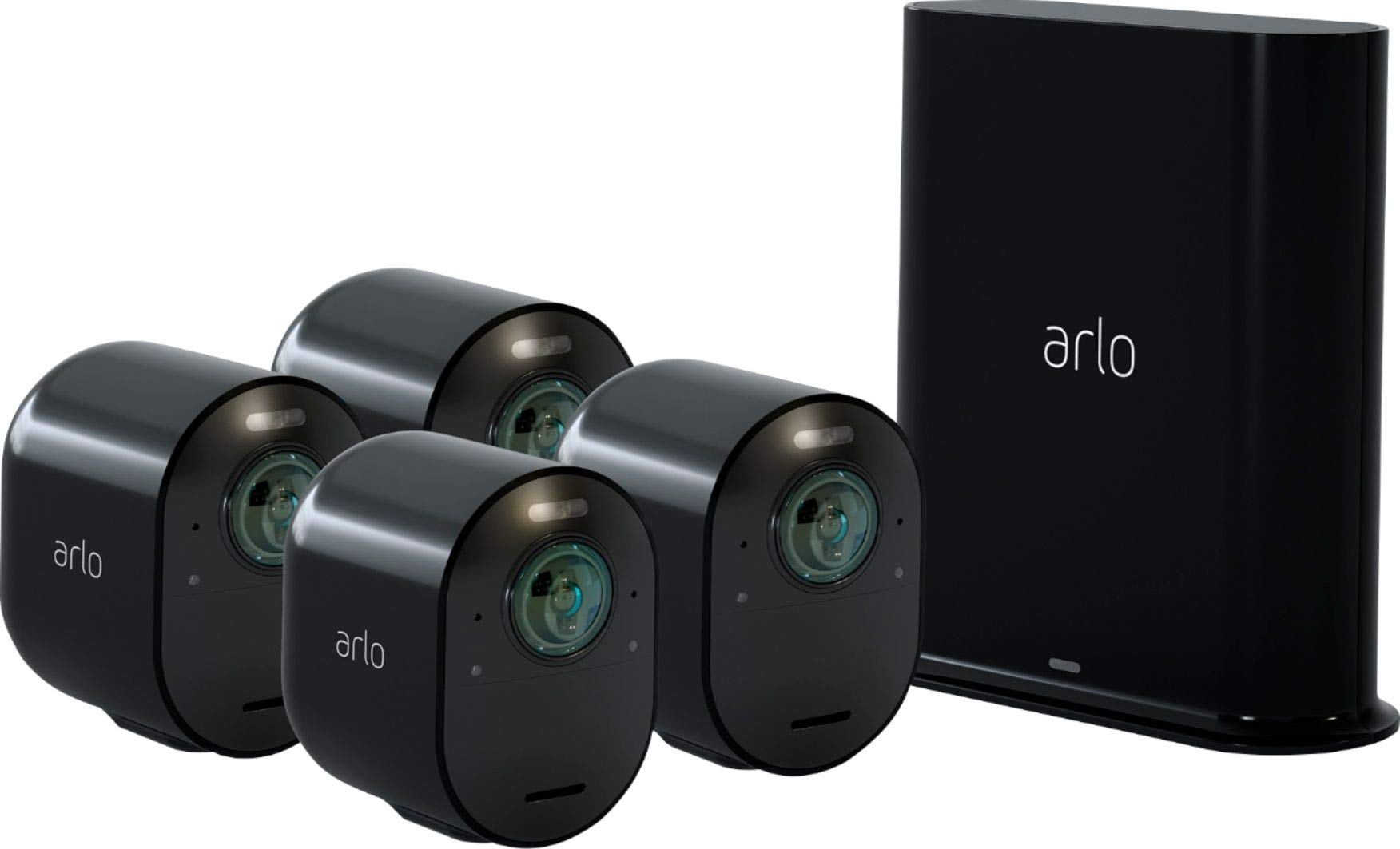 Arlo - Ultra 4-Camera Indoor/Outdoor Wire-Free 4K HDR Security Camera System - Black by Arlo