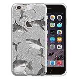 shark iphone 6 case - Apple iPhone 6 Hybrid Case, FINCIBO Shiny Sparkling Silver Bling Glitter TPU Hybrid Silicone Protector Cover Case for Apple iPhone 6 4.7 inch, Gray Sharks