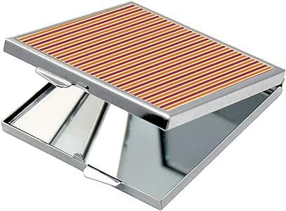 مرآة جيب، بتصميم زخرفة بخطوط ملونة، شكل مربع