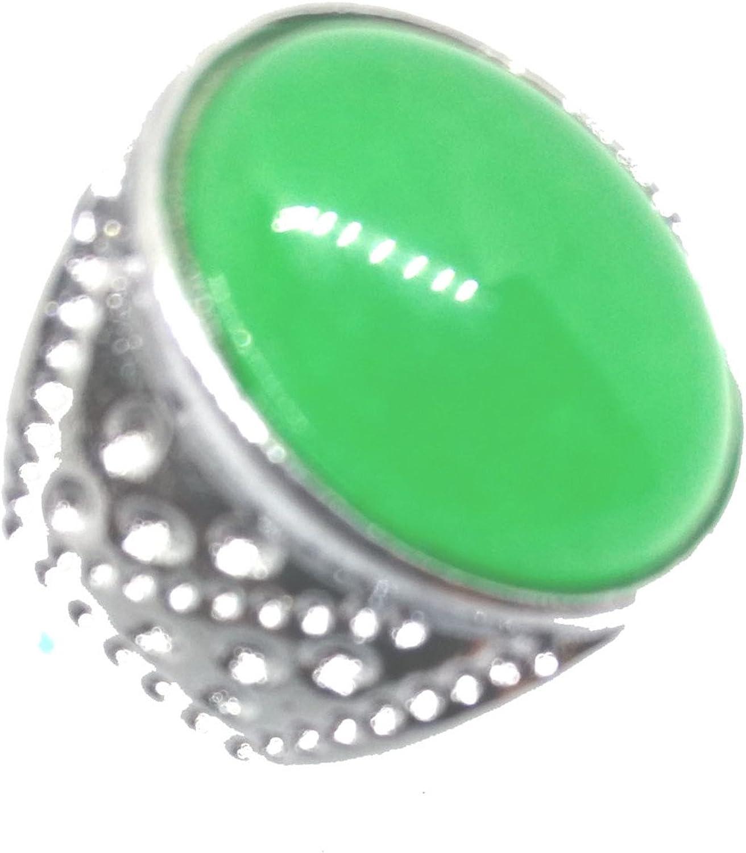 yigedan Argent Vintage Naturel Ovale Vert Jade jad/éite Gem Bague Band