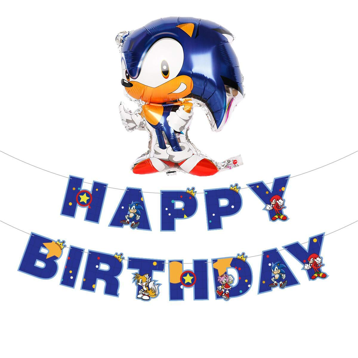 Sonic the Hedgehog Party Supplies,Ecjiuyi Aluminum Balloons for Kids Baby Shower Birthday Party Decorations