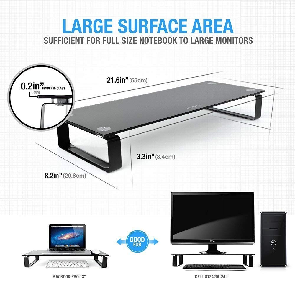 All-in-One Desktop Eutuxia Type-M Clear Tempered Glass Monitor Stand Printer Stand//Riser Laptop TV 27.8 x 11 x 3.5 Inches Computer