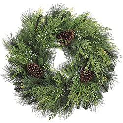 24 Inch Christmas Cedar Wreath with Pine Cones and Berries