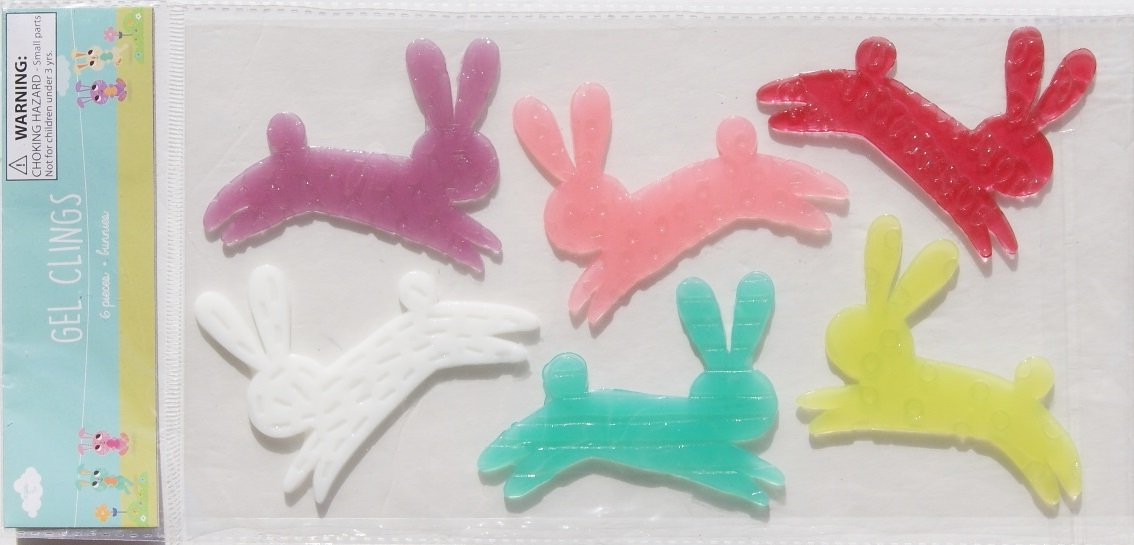 Springtime Easter Themed Hopping Rabbits Gel Window Clings - 6 Piece Made for Retail Inc.