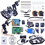 XiaoR Geek Wifi manipulator smart Robot car kit for Raspberry Pi,Tank chassis FPV Camera Programable Robotics Vehicle Kit with 8Gb TF Card by iOS Android PC Controlled